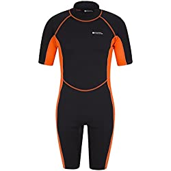Mountain Warehouse Combinaison de plongée Short pour Homme - Combinaison Confortable en néoprène - Convient aux Vacances d'été, plongée et Surf Orange M/L