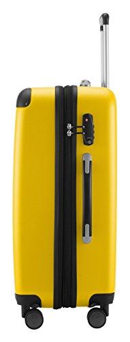 HAUPTSTADTKOFFER® Hartschalen Koffer SPREE 1203 · NEU 4 Doppel-Rollen · MATT · TSA Zahlenschloss · + KOFFERANHÄNGER (Gelb, Set) - 4