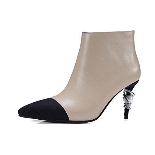QIN&X Donna Punta Stiletto Stivaletti scarpe piattaforma,rosso,37