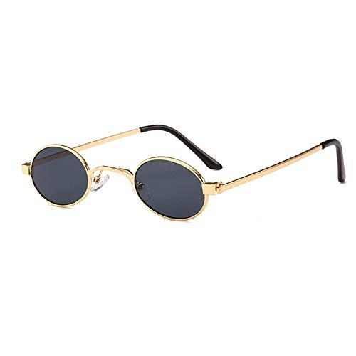 Daawqee Small Oval Sunglasses Men Round NEW Metal Frame Unisex Gold Black Red Small Sun Glasses For Women Round Uv400 as show in photo gold with black