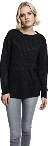 Urban Classics Ladies Basic Crew Sweater, Felpa Donna Nero (Black 7)