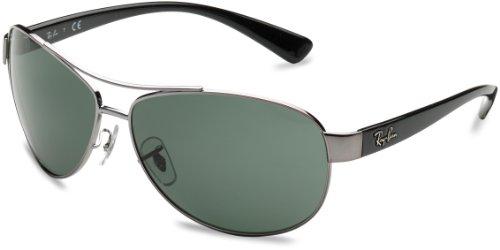 Ray-Ban Unisex Sonnenbrille Mod. 3386 Mehrfarbig (Gestell: Gunmetal/Schwarz, Gläser: Grün Klassisch 004/71) X-Large (Herstellergröße: 67)