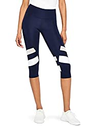 Marchio Amazon - AURIQUE - Capri Stripe, Leggings Sportivi Donna