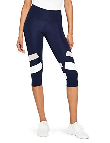 AURIQUE Capri Stripe Sports Leggings, Blue (Navy/White), 16 (size: X-Large)