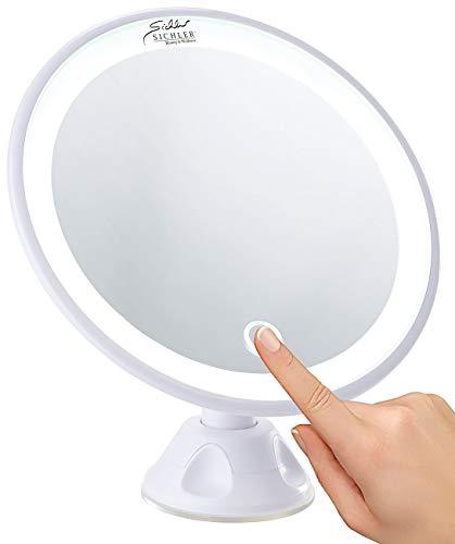 Sichler Beauty Schminkspiegel: Saugnapf-Kosmetikspiegel mit LED-Licht und Akku, 5-fache Vergrößerung (Schminkspiegel beleuchtet)