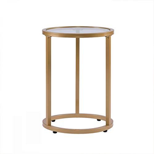 Organisateur d'espace de travail Table basse ronde, table de loisirs en fer forgé verre transparent (Color : A-36 * 50CM)
