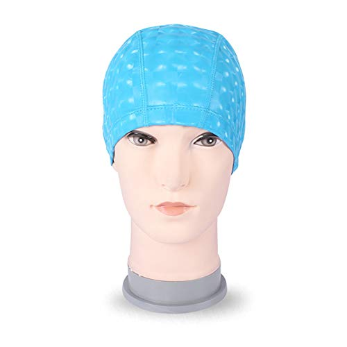 Cuffie da nuoto cuffia in tinta unita, ampio copricapo adulto in pu unisex, lungo e confortevole, con cuffia in tessuto, blu lago