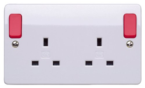 MK K2746D1WHI 13 amp 2-Gang Double-Pole Switch Socket with Out Rockers by MK