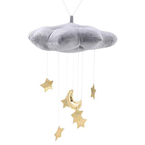Vosarea Mond Stern Wolken Babybett Mobile Dekoration Kreatives Hängendes Spielzeug Decke Hängen für Babyzimmer(Grau)