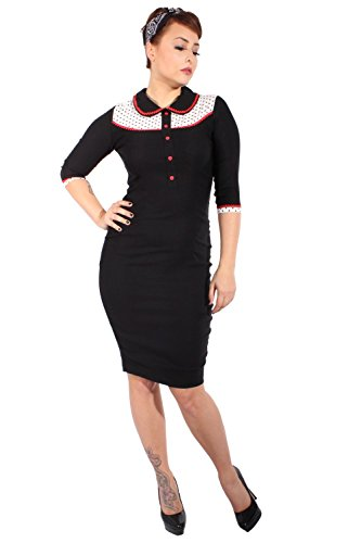 SugarShock Damen POLKA DOTS retro Pin Up Rockabilly Pencil 3/4 arm Bleistift Kleid Schwarz