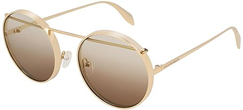 Alexander McQueen Sonnenbrillen AM0137S Gold/Brown Shaded Unisex