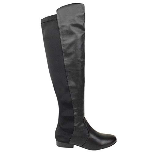 Knie Reitstiefel (Fashion Thirsty Damen Damen Flache Elastisch Weites Bein Stretch Überall Kniehohe Reitstiefel Größe - Schwarz Matt, 41)