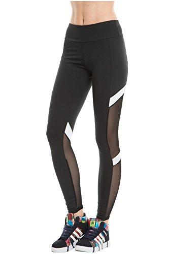 CHIC DIARY Collant de Sport Fitness Yoga Danse Slim Legging Pantalon Stretch Longue Amincissant Gaze Transparent pour Femme Fille(Noir-S/M(EU 32-38))