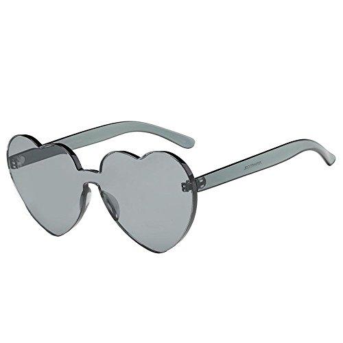 Randlose bonbonfarbene herzförmige Sonnenbrille Persönlichkeit herzförmige Damenbrille