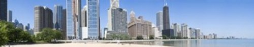The Poster Corp Panoramic Images - Beach and skyscrapers in a city Ohio Street Beach Lake Shore Drive Lake Michigan Chicago Illinois USA Photo Print (111,76 x 22,86 cm)