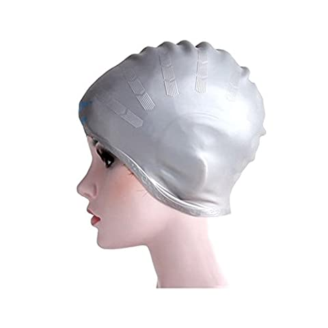 Adult Moulded Swim Cap Charming Silicone Waterproof Colour Long Hair With Ear Cup Stretch Hat by Amazing K (Silver)