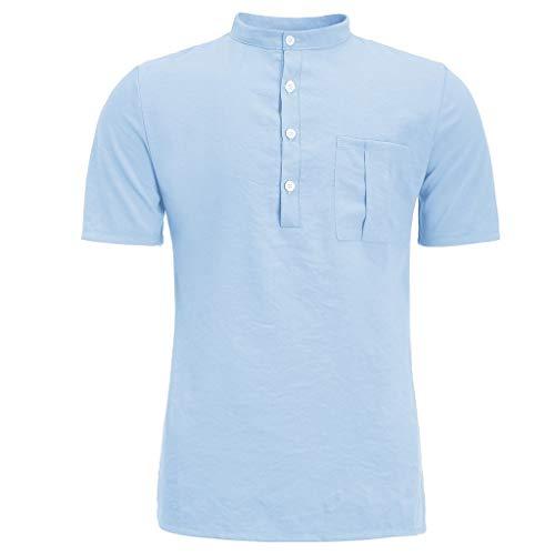 Crazboy Herren Sommer Neue Reine Baumwolle Hanfhemd Knopf kurzen Ärmeln Mode große Bluse Top(Medium,Himmelblau)