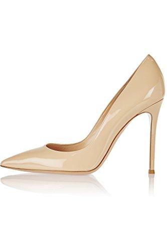 EDEFS Femmes Artisan Fashion Escarpins Délicats Classiques Elégants Pointus Des Couleurs Chaussures à talon de 100mm Noir Brillant Beige