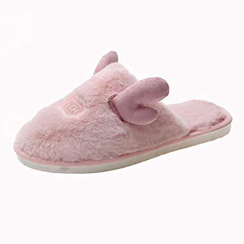 kinfuki Komfortable Slipper mit Rutschfester,Warme Flache Baumwollpantoffeln, runde Plüschschuhe aus Baumwolle - pink_35,Slippers für Drinnen wollähnliche