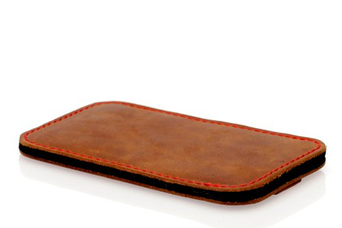 germanmade. g.4 Apple iPhone 5 / 5s Hülle aus Leder mit Zuglasche in night / schwarz hellbraun