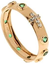 a299f727a1b2 Anillo rosario de Oro Rosa De CT 750 1000 con circonitas verdes para mujer