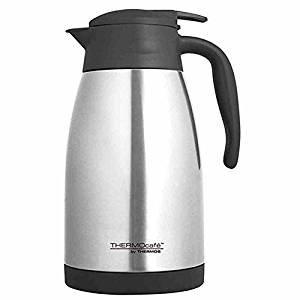 ThermoCafé by THERMOS 4062.205.150 Isolierkanne TLC, Edelstahl mattiert 1,5 Liter, Einhandbedienung, BPA-Free