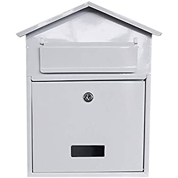 Postbox Letter Box Post Box Outside Mailbox Metal External Mail White Wall  Mounted Wedding Card Box Vintage