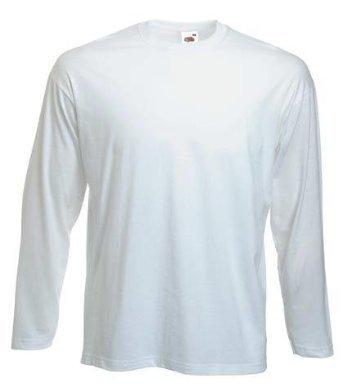 Fruit of The Loom Herren T-Shirt Valueweight Langarm T Weiß White M -