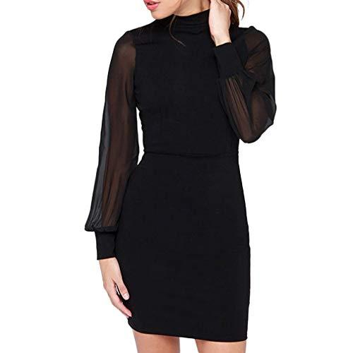 Resplend Frauen Rückenfreie Langärmliges Kleid Trompetenärmel Schlankes Minikleid -