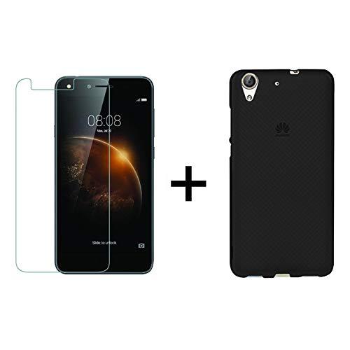 TBOC Pack: Funda de Gel TPU Negra + Protector Pantalla Vidrio Templado para Huawei Y6II-Y6 2 (5.5 Pulgadas). Funda de Silicona Ultrafina y Flexible.Protector Resistente a Golpes, Caídas y Arañazos.