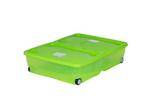 Kreher XXL Rollbox, Unterbettbox, Kunststoffbox mit Deckel in Grün, Transparent, belüftet, 64...