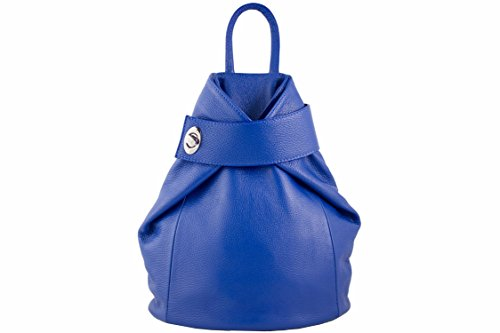 Zaino donna in vera pelle made in italy zeta shoes borse MainApps Blu elettrico