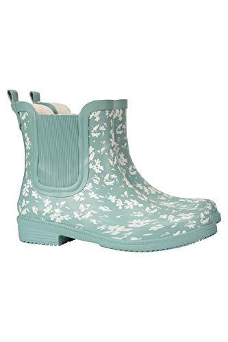Mountain Warehouse Damen Stiefeletten aus Gummi - Wasserdichte Regenschuhe, weiches Wollfutter, pflegeleicht, Flexible Gummistiefel für Damen - Für Spaziergänge Mint 40 EU