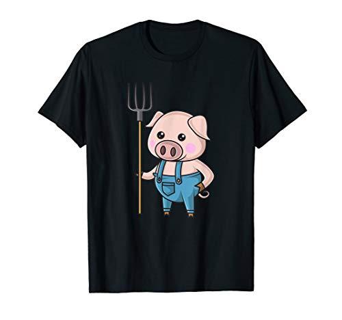 Bauer Shirt Kostüm - Schwein Bauer Ferkel Schweinchen T SHIRT Mädchen Geschenk