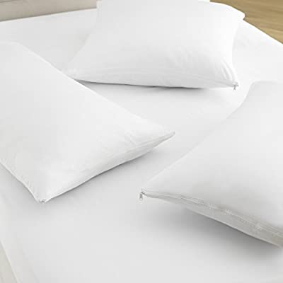 Great Knot 200 Thread Count 100% Cotton Liquid Repellent, Anti-Allergy, Anti-Bacterial Pillow Protector Pair White