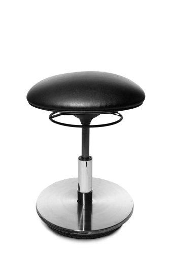 Topstar ST59S10 Drehhocker Sitness 23 / Bezugstoff schwarz / Fussplatte Holz mit Edelstahlabdeckung