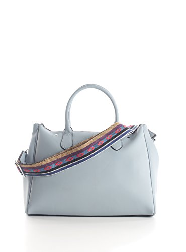 Trussardi Jeans Damen Blondie Ecoleather Print Stripes/Studs Tote Bag, 40x43x23 centimeters Blau (Light Blue)