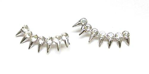 Lux Accessories-Orecchini a perno in metallo, con strass, motivo: Creeper