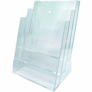 Preisvergleich Produktbild FKV Prospekt-Tischständer A4 3 Fächer Polystyrol klar