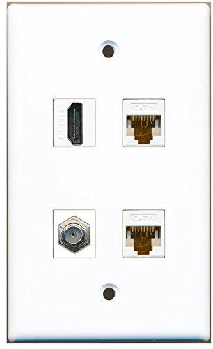 RiteAV-1Port HDMI 1Port Koax-Kabel TV-F-2Port CAT6Ethernet weiß Wall Plate 2-port-wall Plate