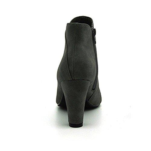 Donna stivale il nuovo, Stivaletti di gomma fine slittata indossare impermeabile , Assorbimento degli urti, lato cerniera moda Grezzo con Stivaletti gray