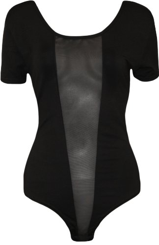 WearAll - Übergröße Damen Netz Einsatz Kurzarm Body Top - Größen 44-50 Schwarz
