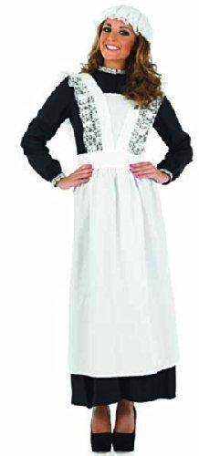 Haushälterin Schürze (Damen Voll lang Länge Arme Viktorianisch Dienstmagd Dienstmädchen Haushälterin Kostüm Kleid Outfit 8-26 Übergröße - Schwarz & Weiß, 16-18)