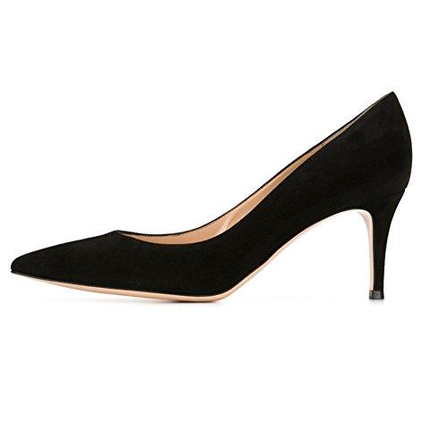 EDEFS Spitz Damen Pumps Klassische Kitten Heel Absatz Pointed Toe Schuhe Black Größe EU40 Black Suede Pointed Toe Pump