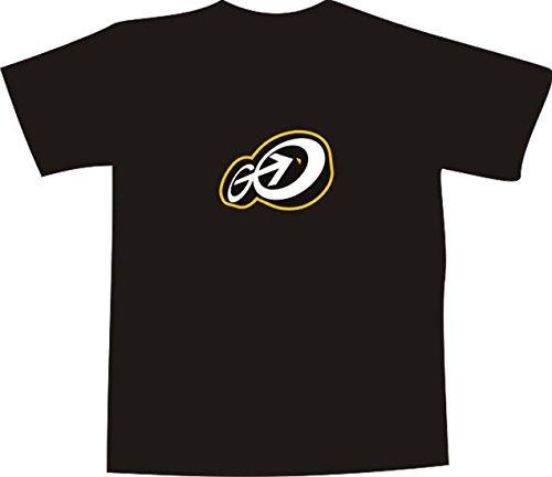 T-Shirt E337 Schönes T-Shirt mit farbigem Brustaufdruck - Logo / Grafik - abstraktes Design / Schriftzug GO! mit Pfeil und Outline Schwarz