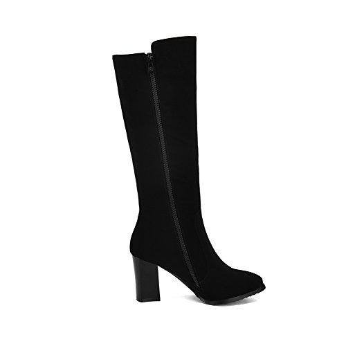 AllhqFashion Damen Rein Spitz Zehe Reißverschluss Stiefel mit Beschlagene Strass, Schwarz, 37