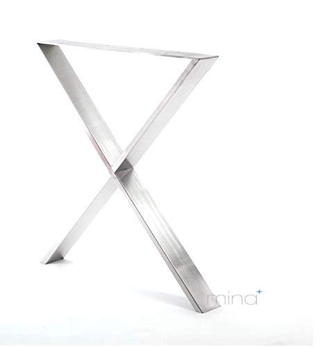 mina concept Tischgestell X-Form modern I 80 x 20 mm Profil I hochwertiger Edelstahl gebürstet I 72 cm hoch I Indoor & Outdoor I Untergestell für ESS-, Schreib-, Gartentisch etc. I 1 Stück