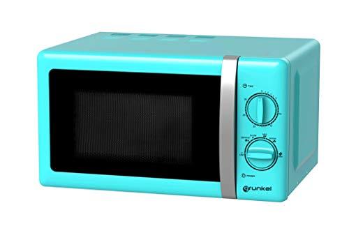 Grunkel - Microondas de diseño vintage azul de 20 litros de capacidad y 700W. 6 niveles de potencia, función descongelación y temporizador hasta 30 minutos. Fácil apertura con tirador. Modelo MW-20AF