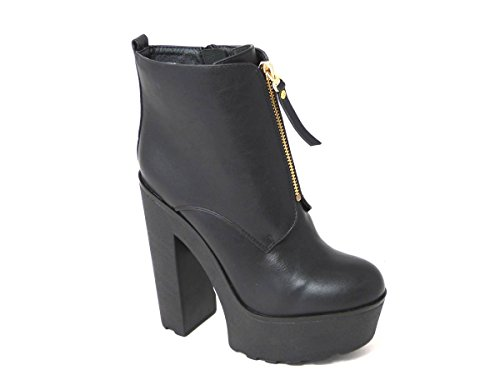 NEW Femme Chunky semelle à crampons Talon Bloc Plateforme Haute Cheville Sangle Chaussures Zip Wedge Bottes Taille 3 4 5 6 7 8 différents Designs UK Black Middle Zip Boot