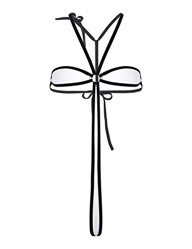 Agoky Damen Neckholder Bikini Bademode Einteiler Badeanzug Stringbody T-Back Dessous Frauen Reizwäsche Weiß One Size